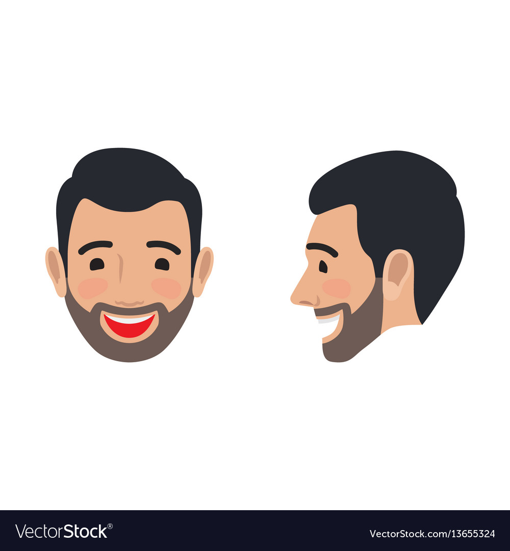 Laughing man face from two sides flat icon
