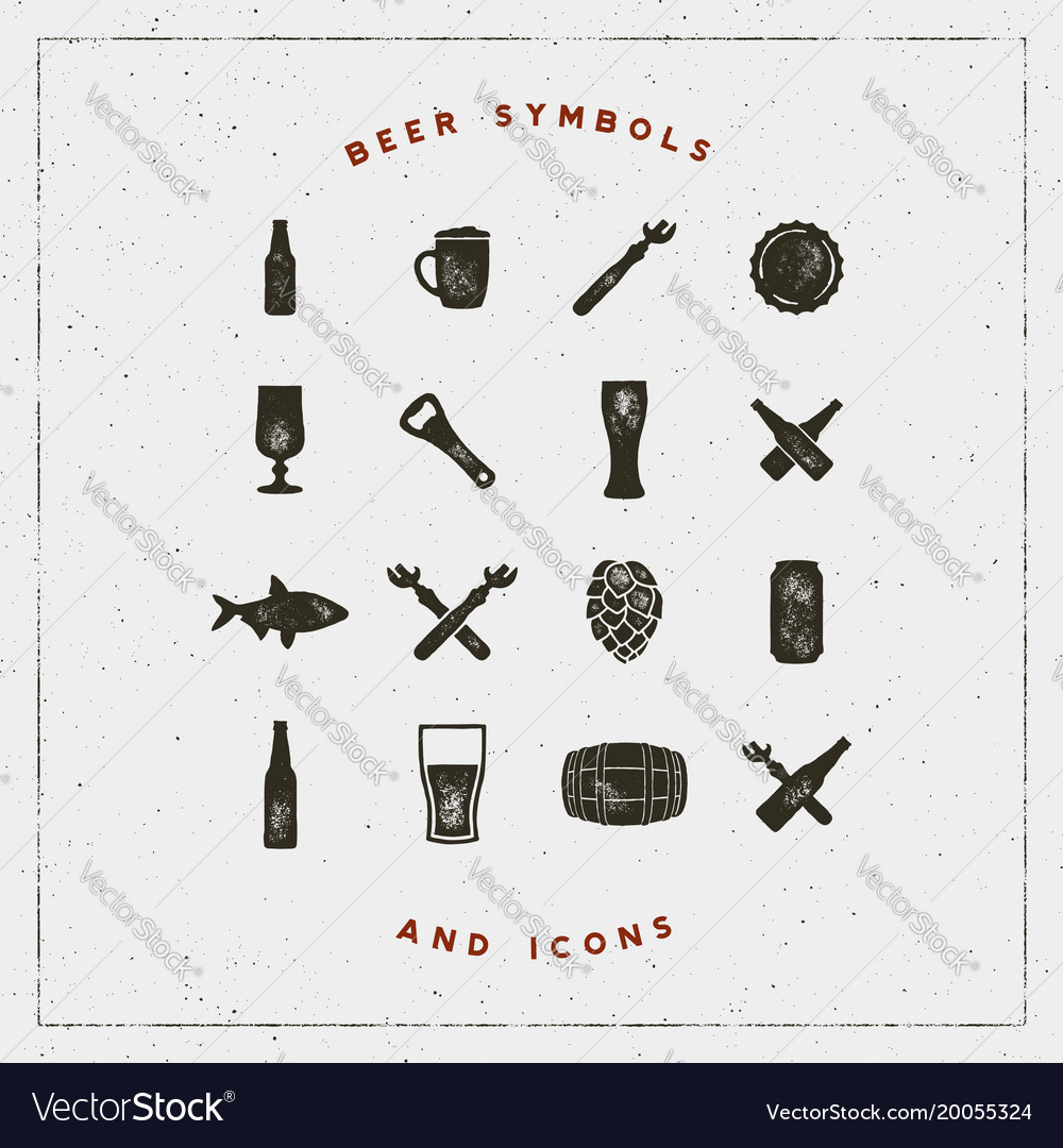 Set of beer symbols and icons