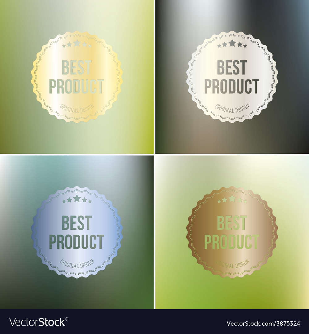 Set of best product labels isolated on blurred