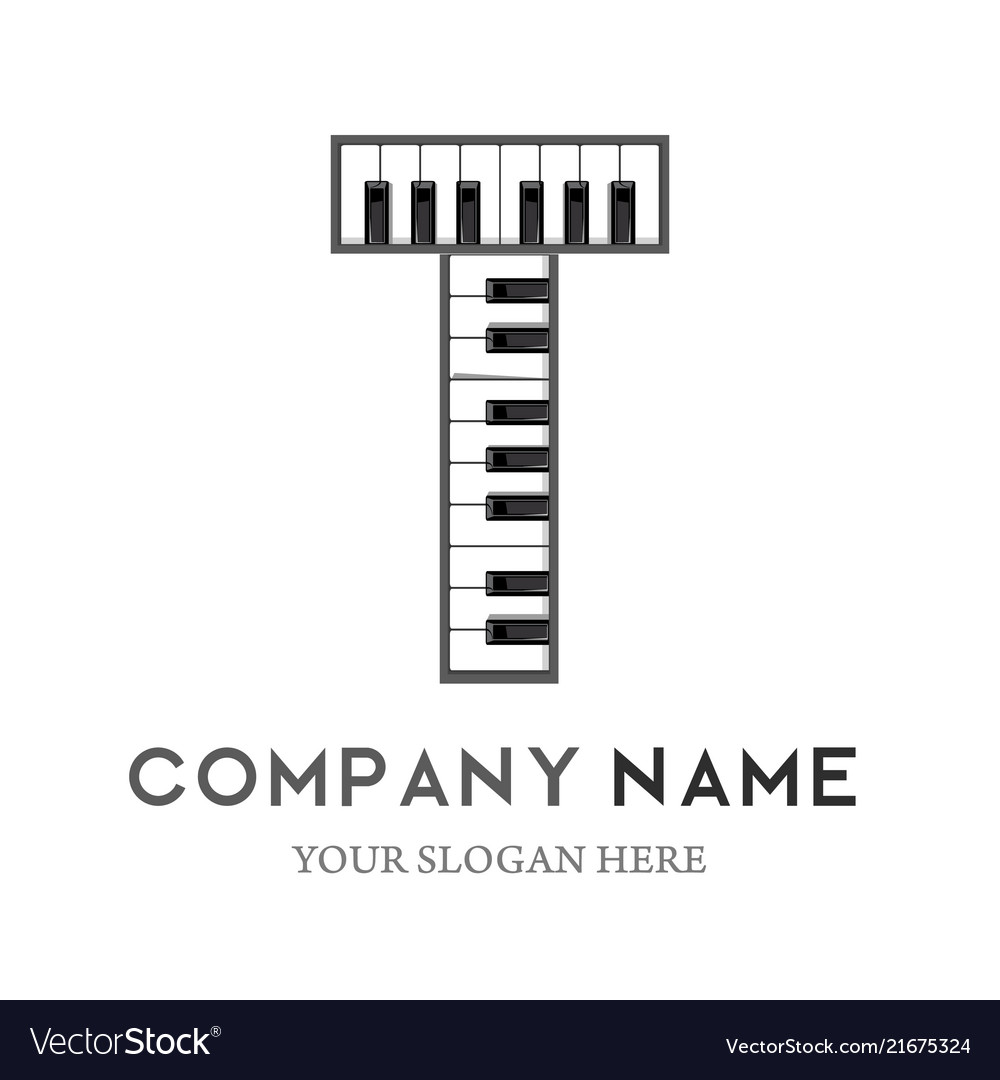 t letter logo design piano keyboard logo vector image