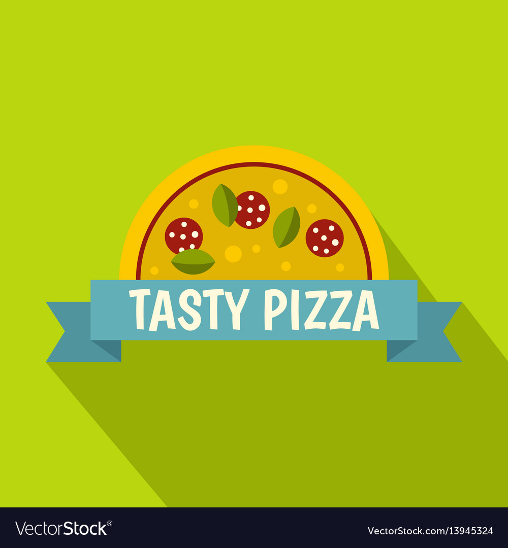 Tasty pizza label icon flat style