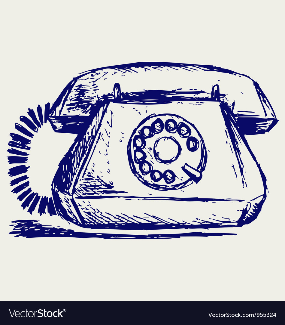 Telephon with rotary dial vector image