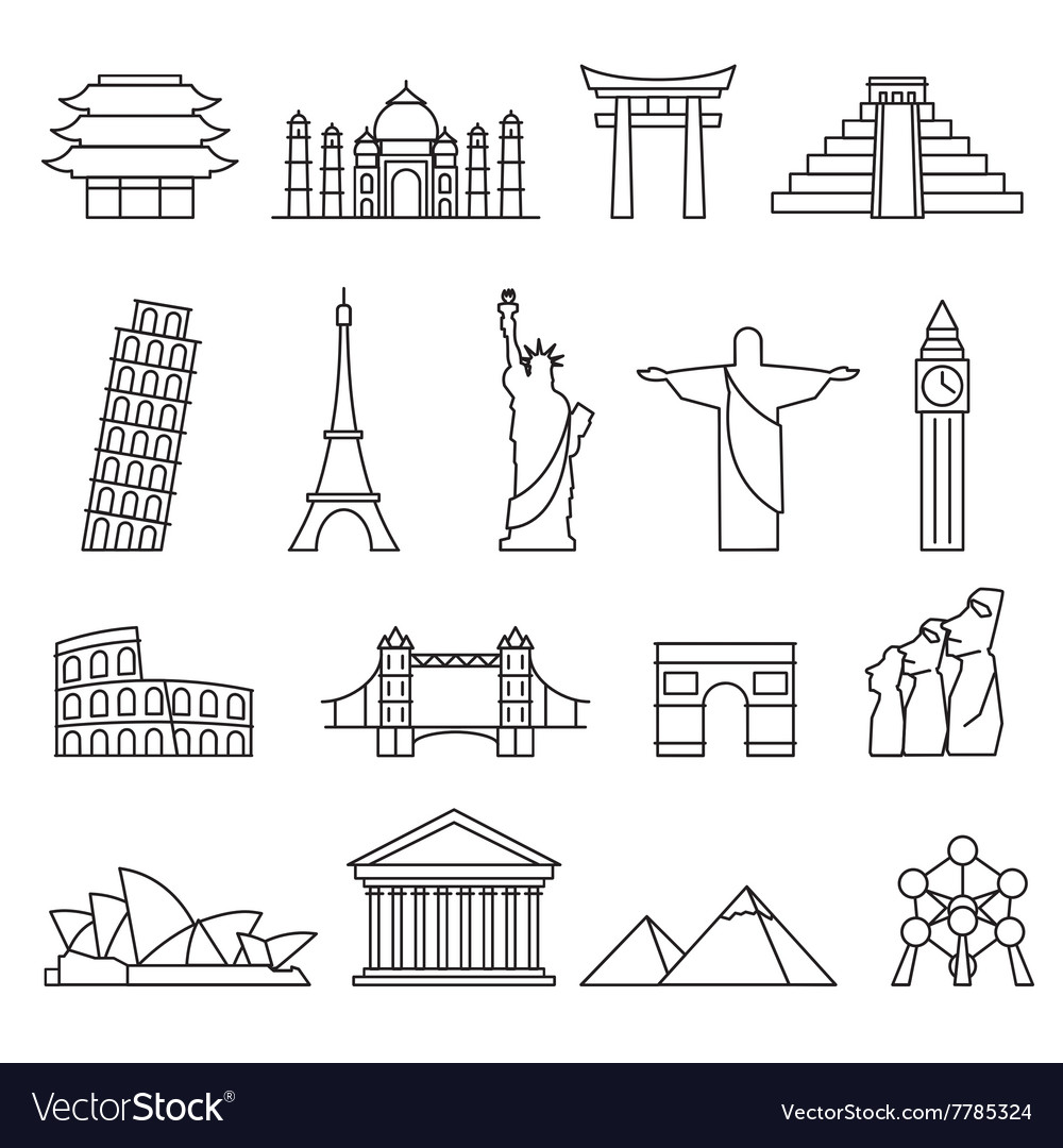 World landmarks outline icons abstract set