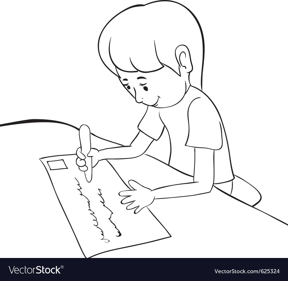 Writing boy outline vector