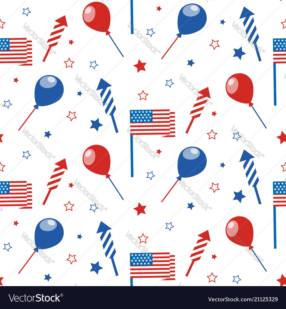 4th of july seamless pattern with festive