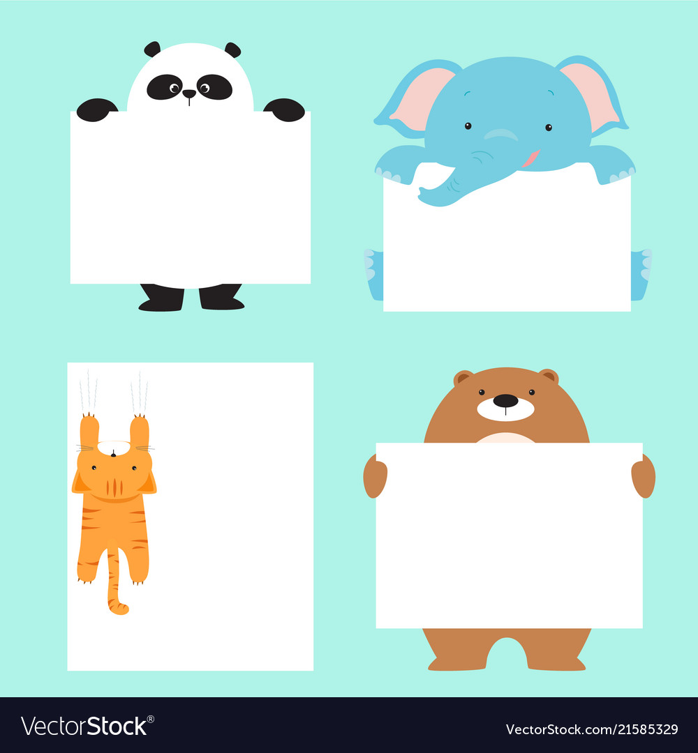 Animal holding empty banner template