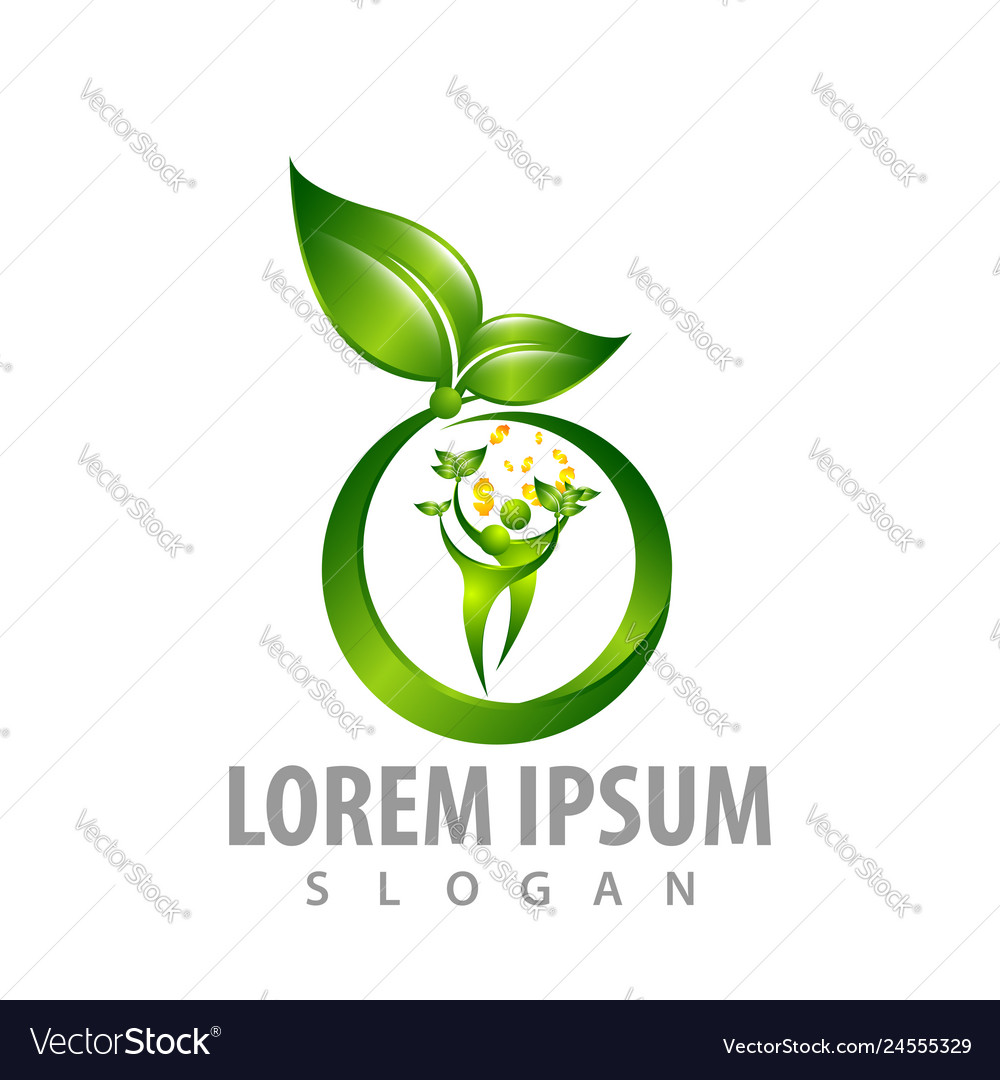 Circle leaf with people money sign concept design