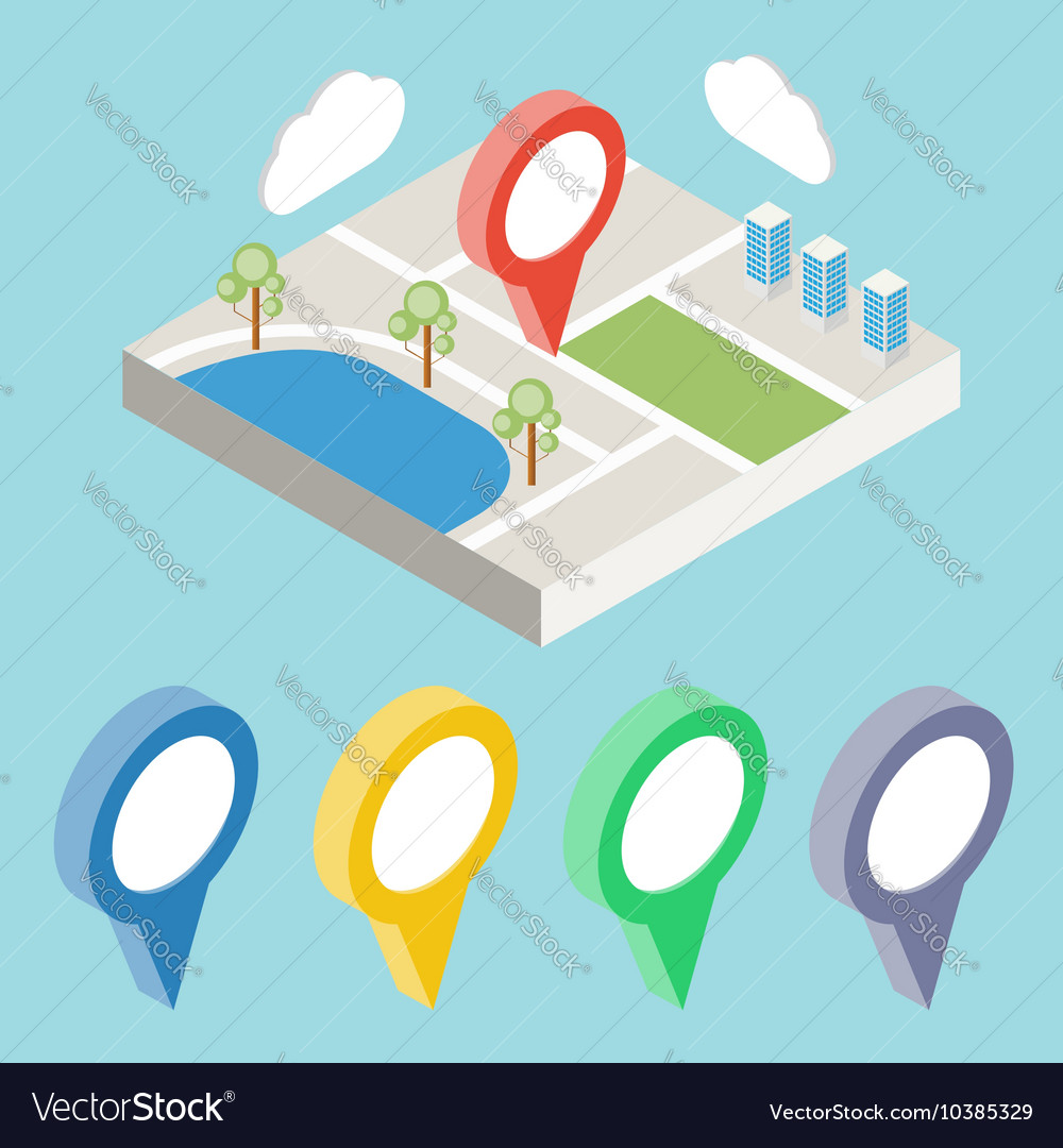 City map with GPS icons GPS isometric
