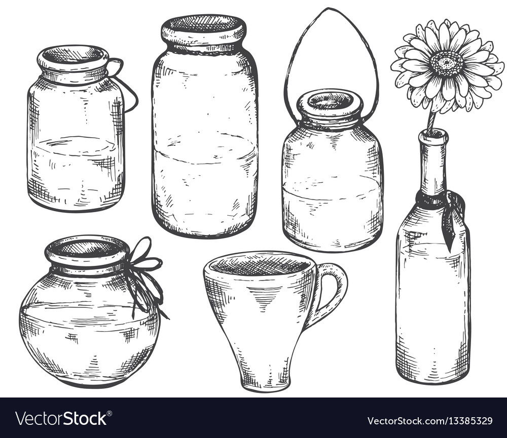 Collection of hand drawn vases and jars