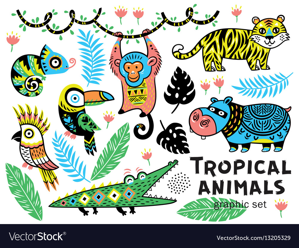 Collection of mountain animals with ethnic tribal