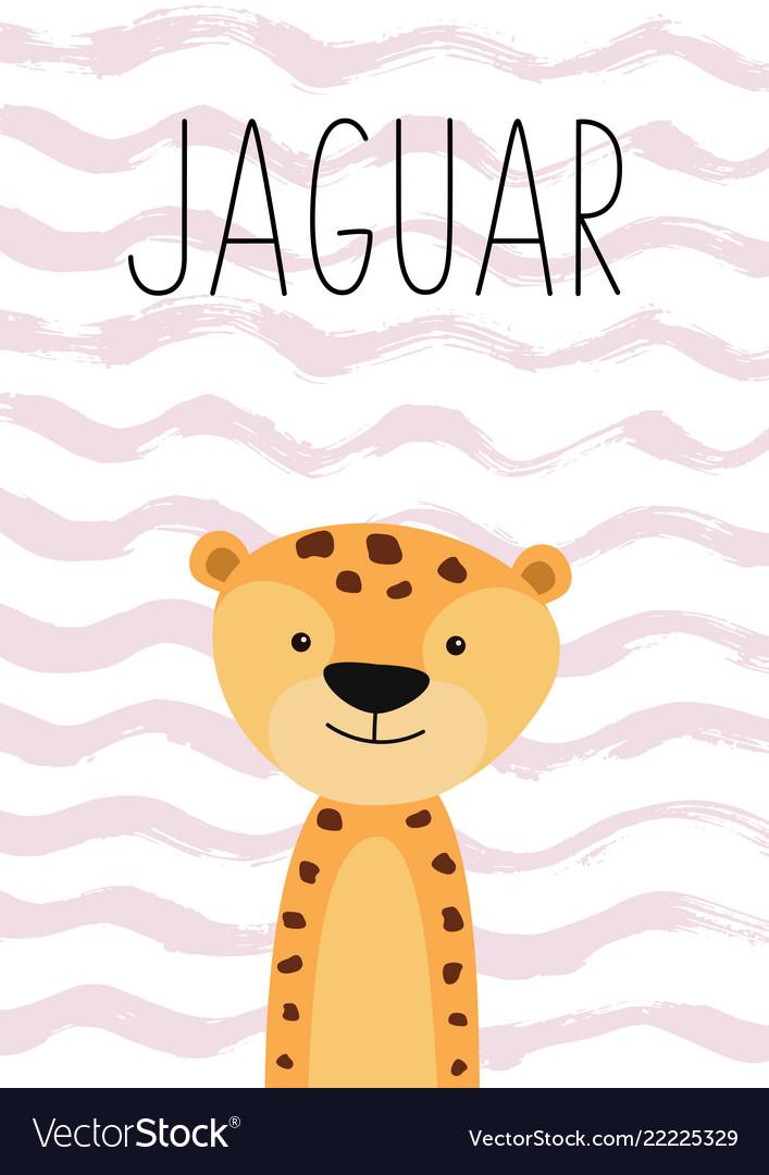 Cute jaguar cartoon character poster card