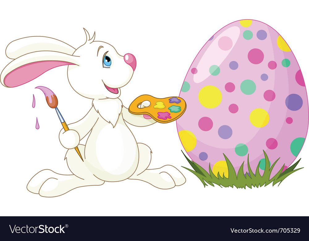 Easter bunny painting an egg