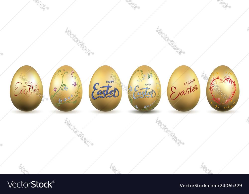 Easter egg 3d icon gold eggs set lettering
