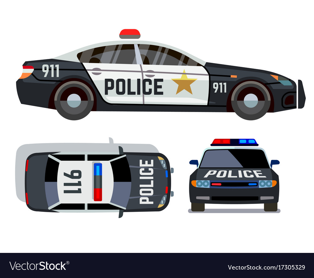 Flat-style cars in different views police