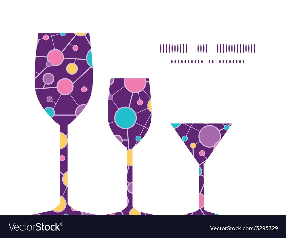 Molecular structure three wine glasses silhouettes