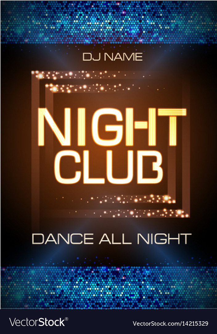 Neon sign night club disco party poster