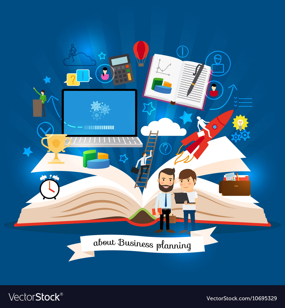 Open book with business strategy concept