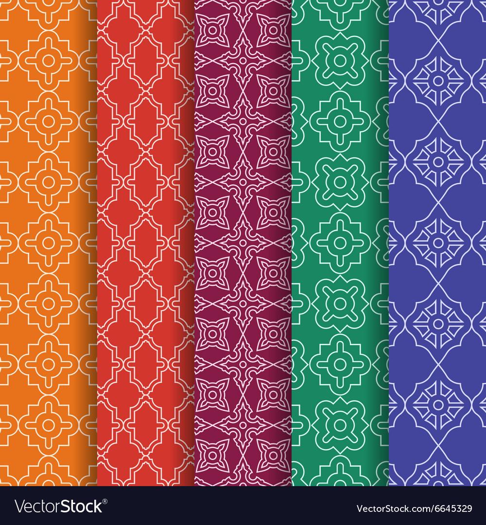 Set of Arabic geometric seamless patterns Ethnic