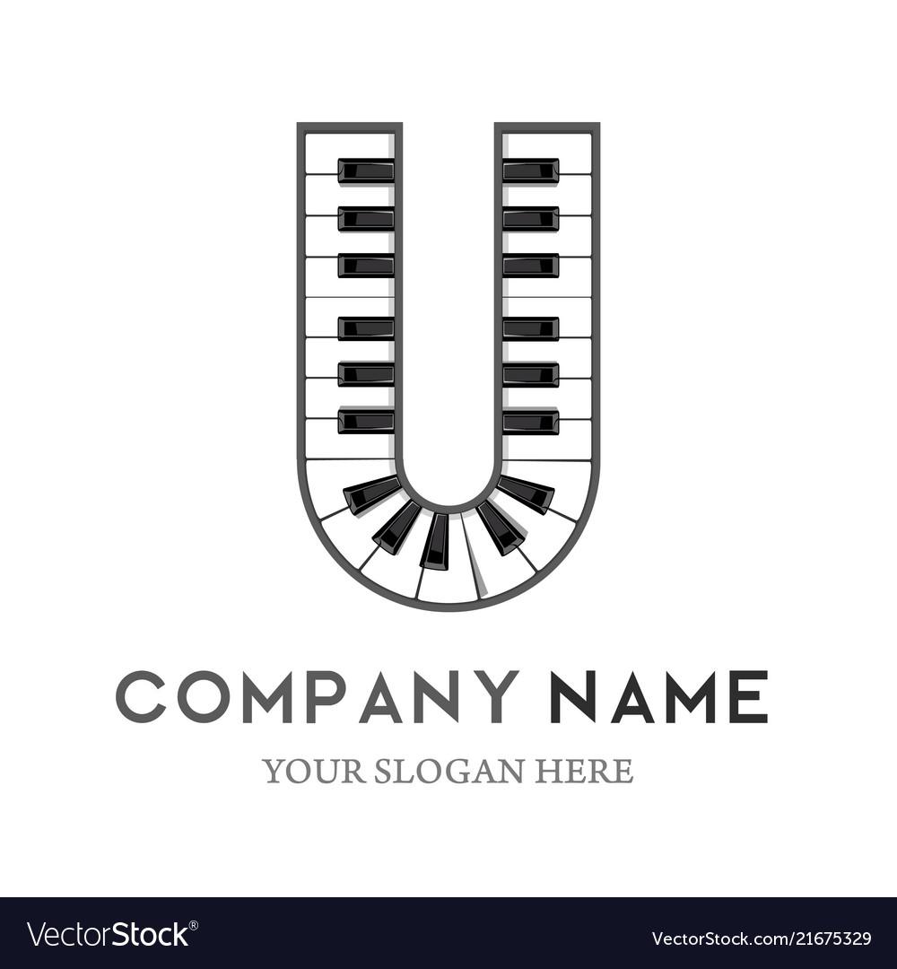 U letter logo design piano keyboard logo
