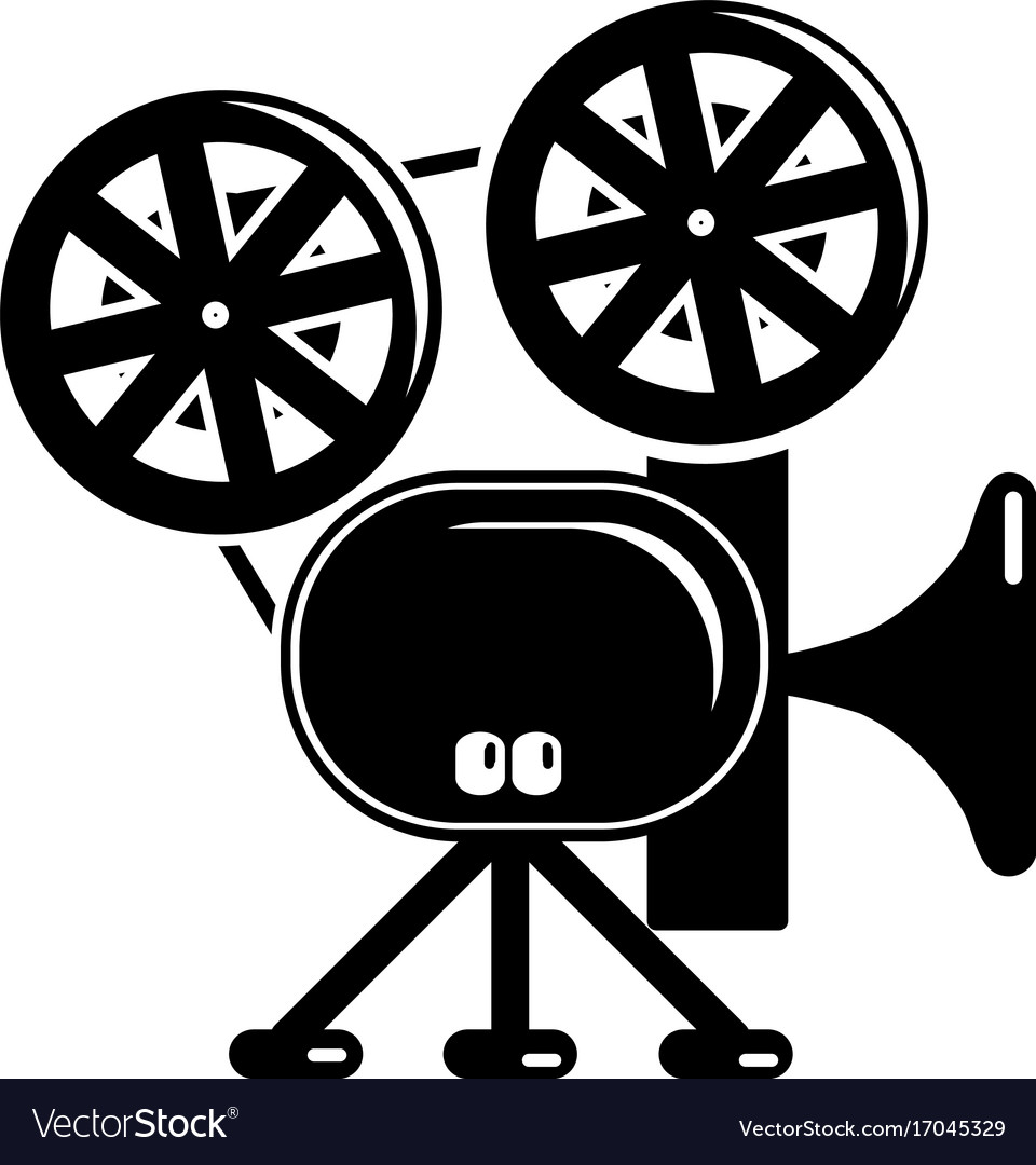 Video camera icon simple black style vector image