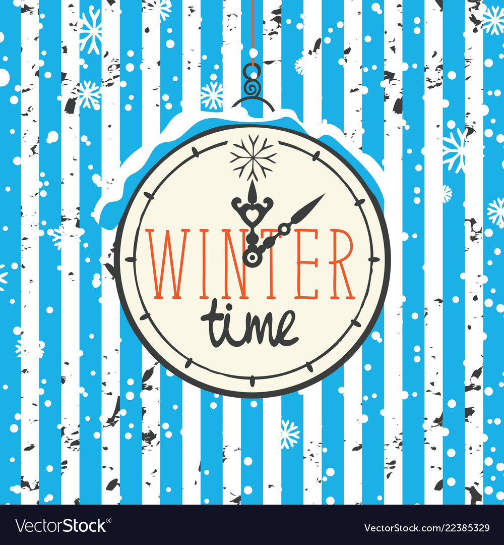 Winter banner with clock and snowflakes