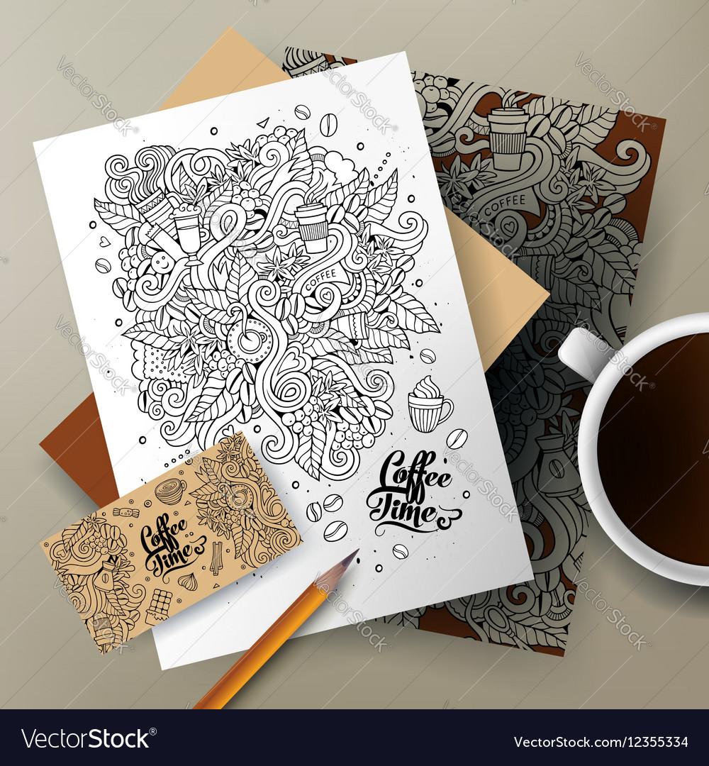 Cartoon cute doodles Coffee corporate vector image