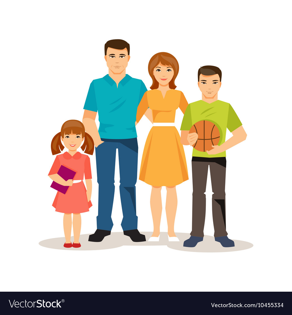 Cartoon family on the white background