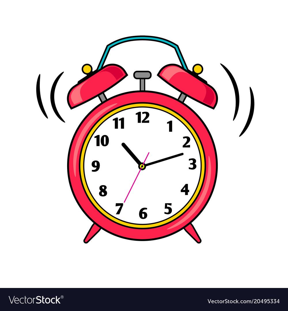 Cartoon Red Ringing Alarm Clock Vector Image