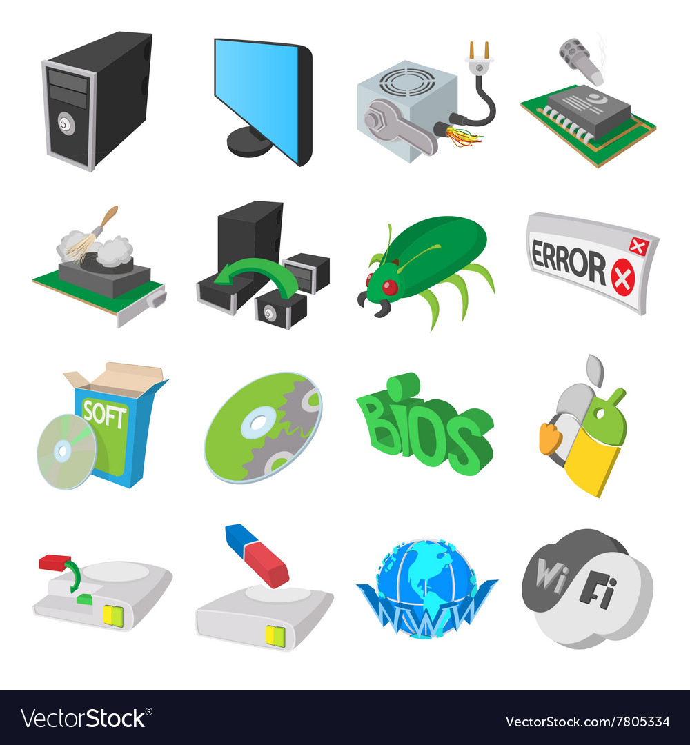 Computer service icons set cartoon style