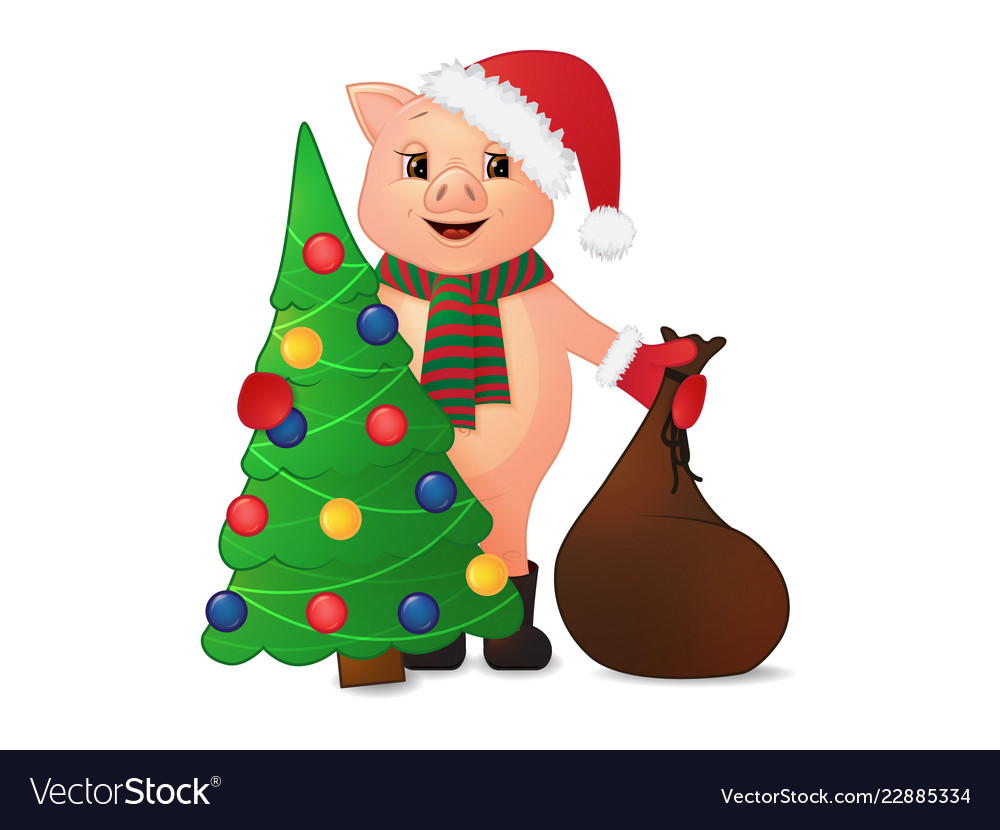 Cute piggy in santa hat christmas tree and gift