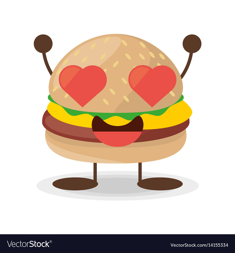 Kawaii burger food lovely vector image