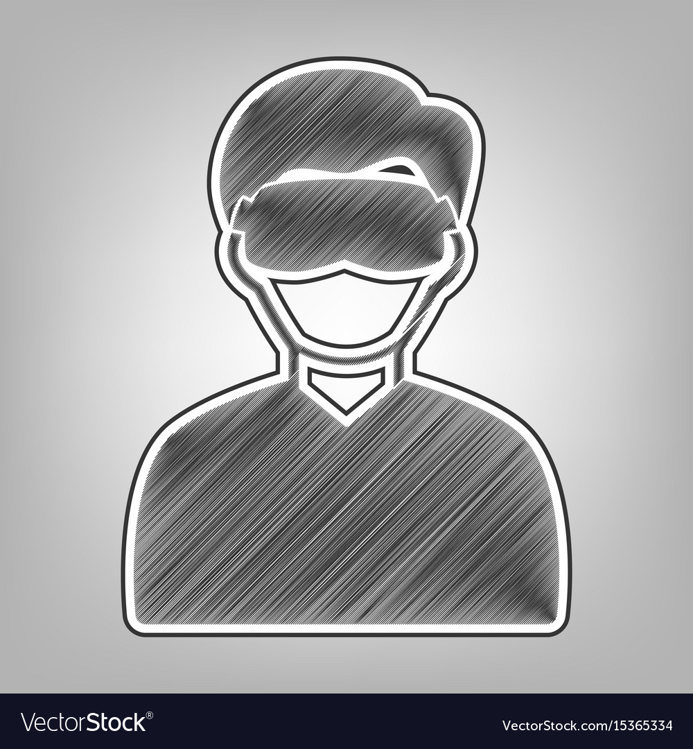 Man with sleeping mask sign pencil sketch vector image