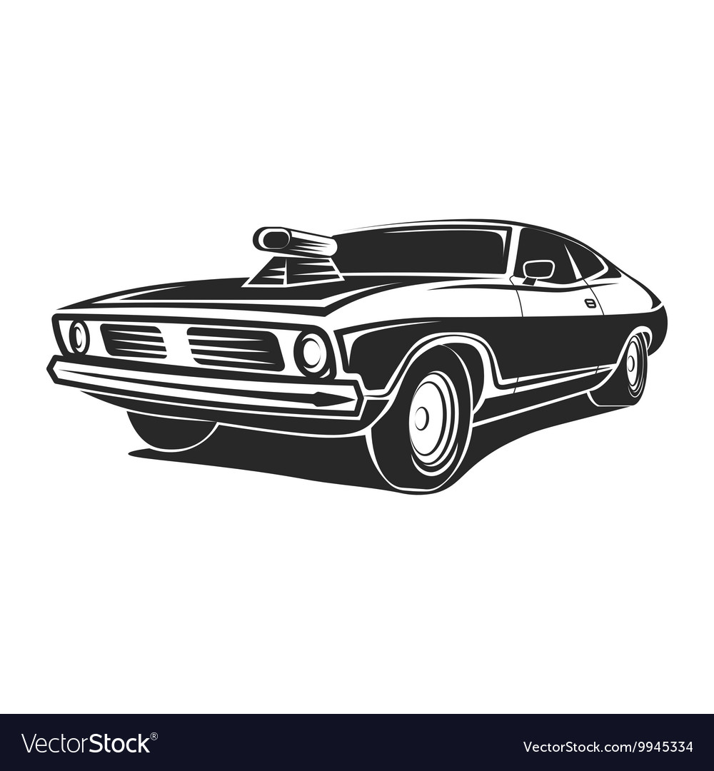 Muscle Car Poster Royalty Free Vector Image Vectorstock