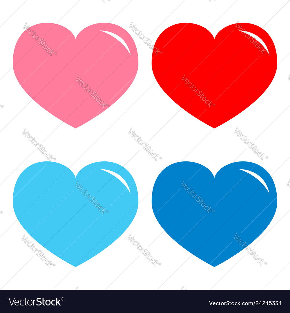 Pink red blue heart shining icon set happy