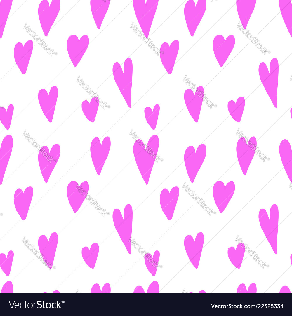 Seamless pattern with hand drawn hearts design