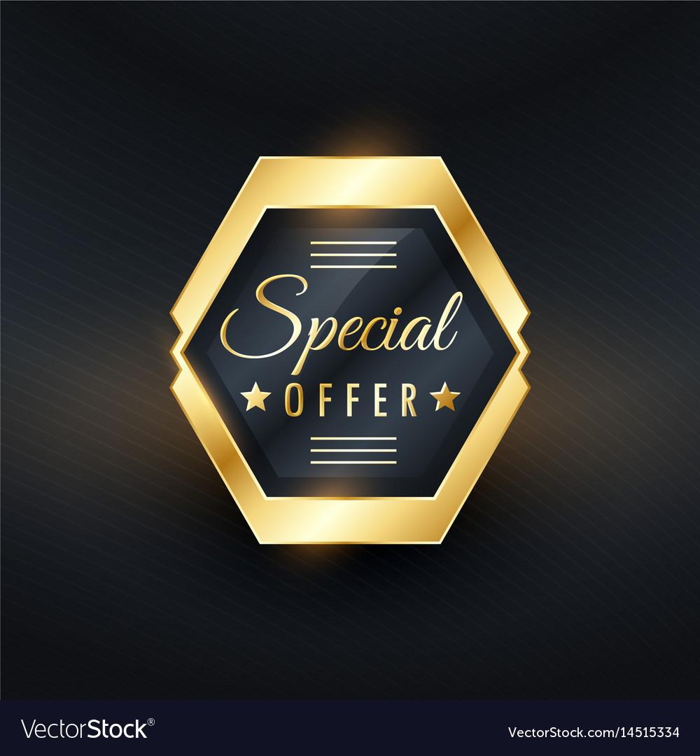 Special offer golden label badge design
