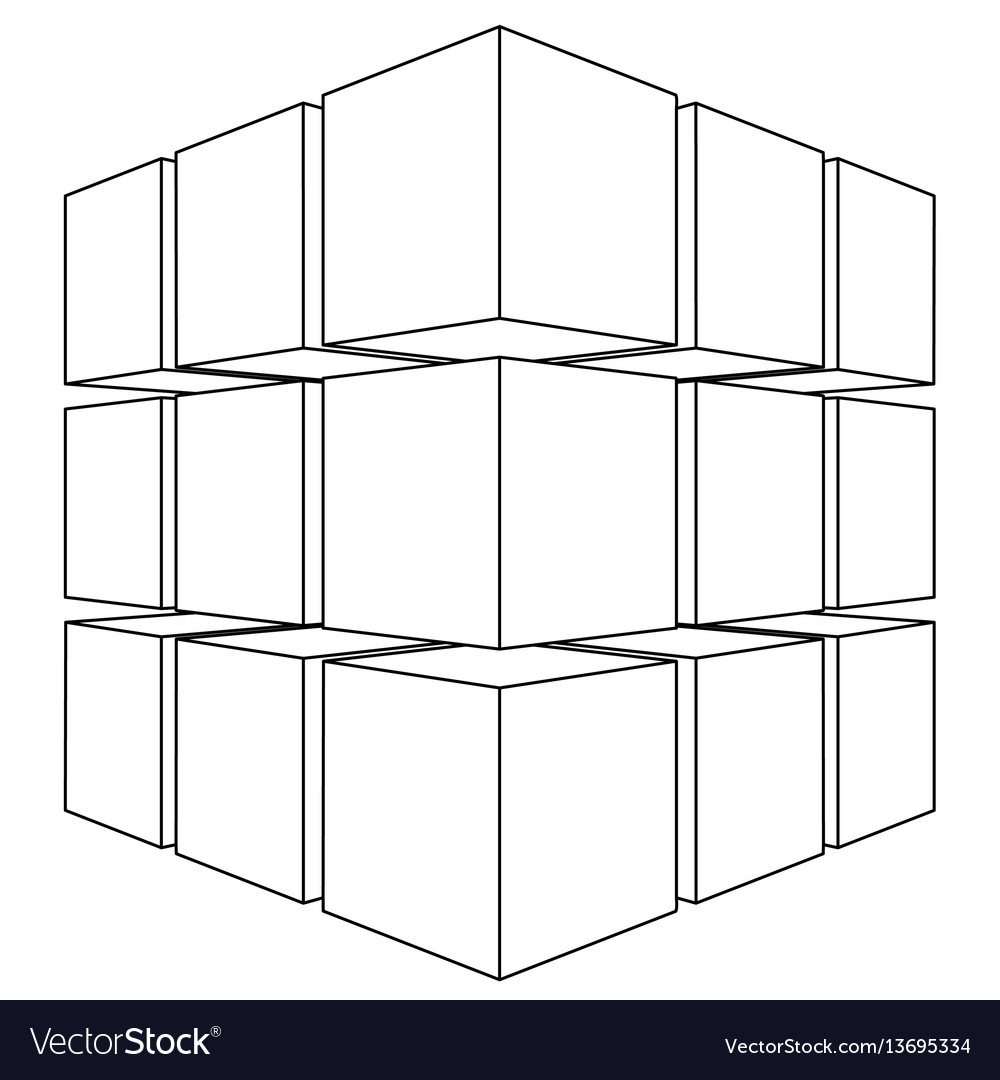 Wireframe mesh outline cube