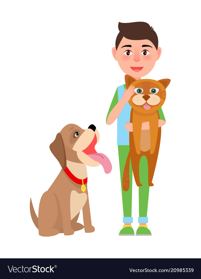 Boy with cat and dog poster
