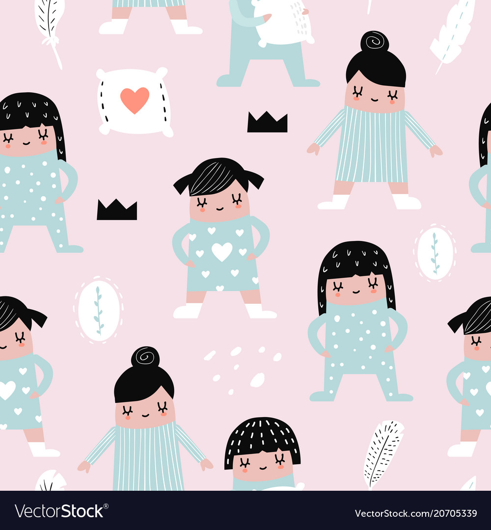 Childish seamless pattern with girls in pajamas