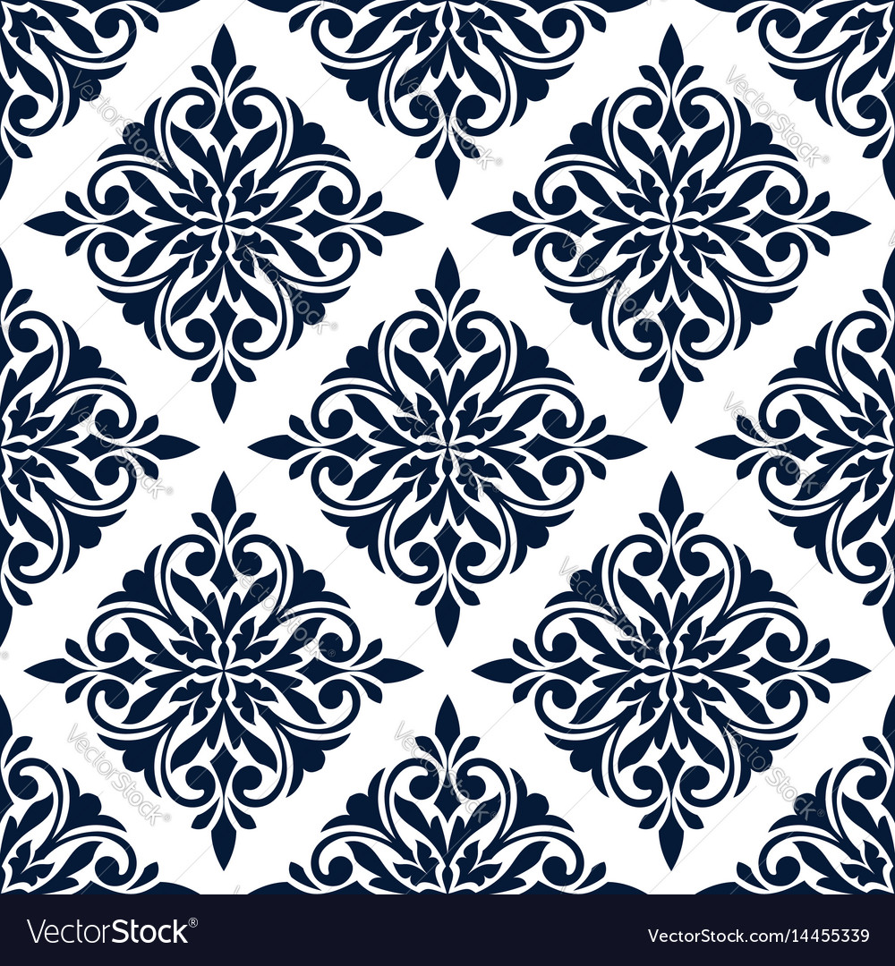 Damask seamless pattern with blue floral ornament