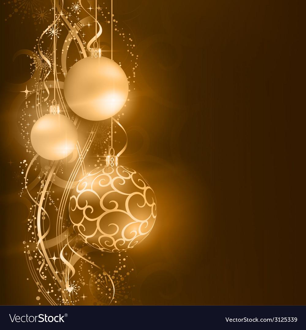 Dark golden Christmas balls with wavy star