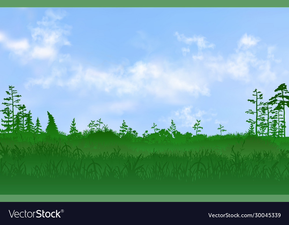 Flat plain with grass and few trees