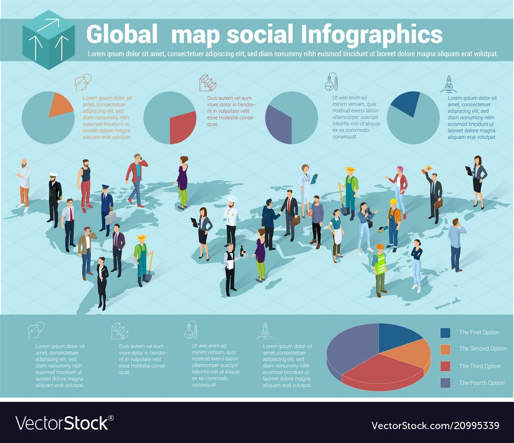 Global world isometric map