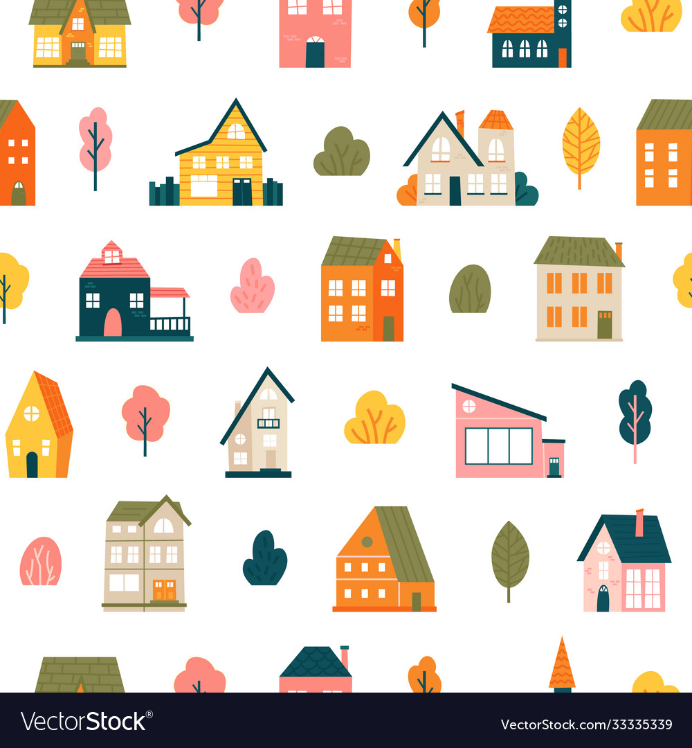 House pattern cute tiny town houses seamless