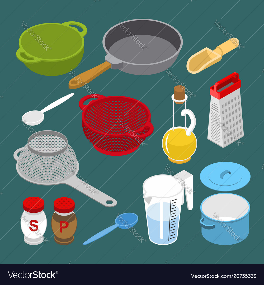 Ingredients and utensils set isometry grater and