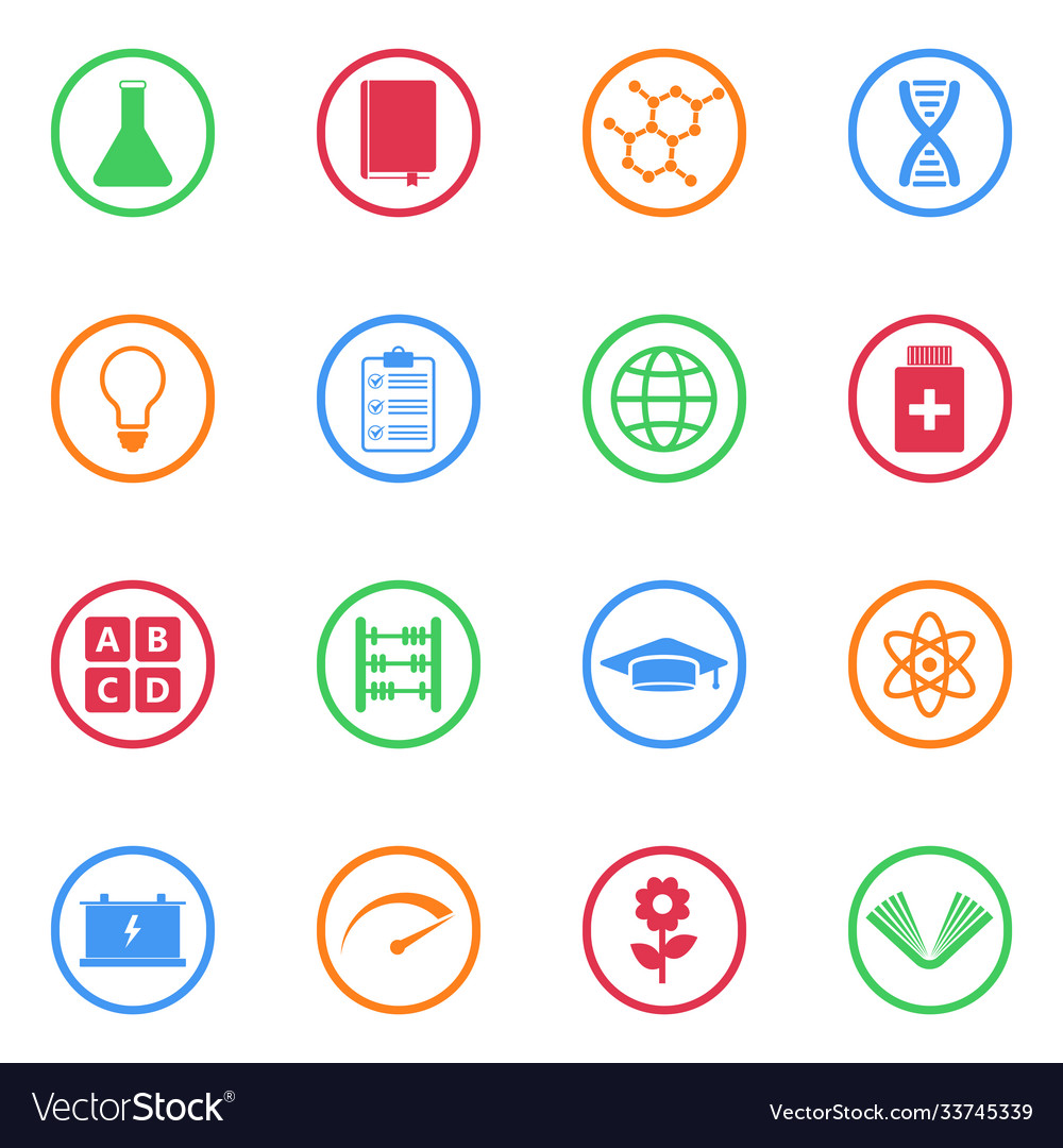 Science education icon set for web and mobile