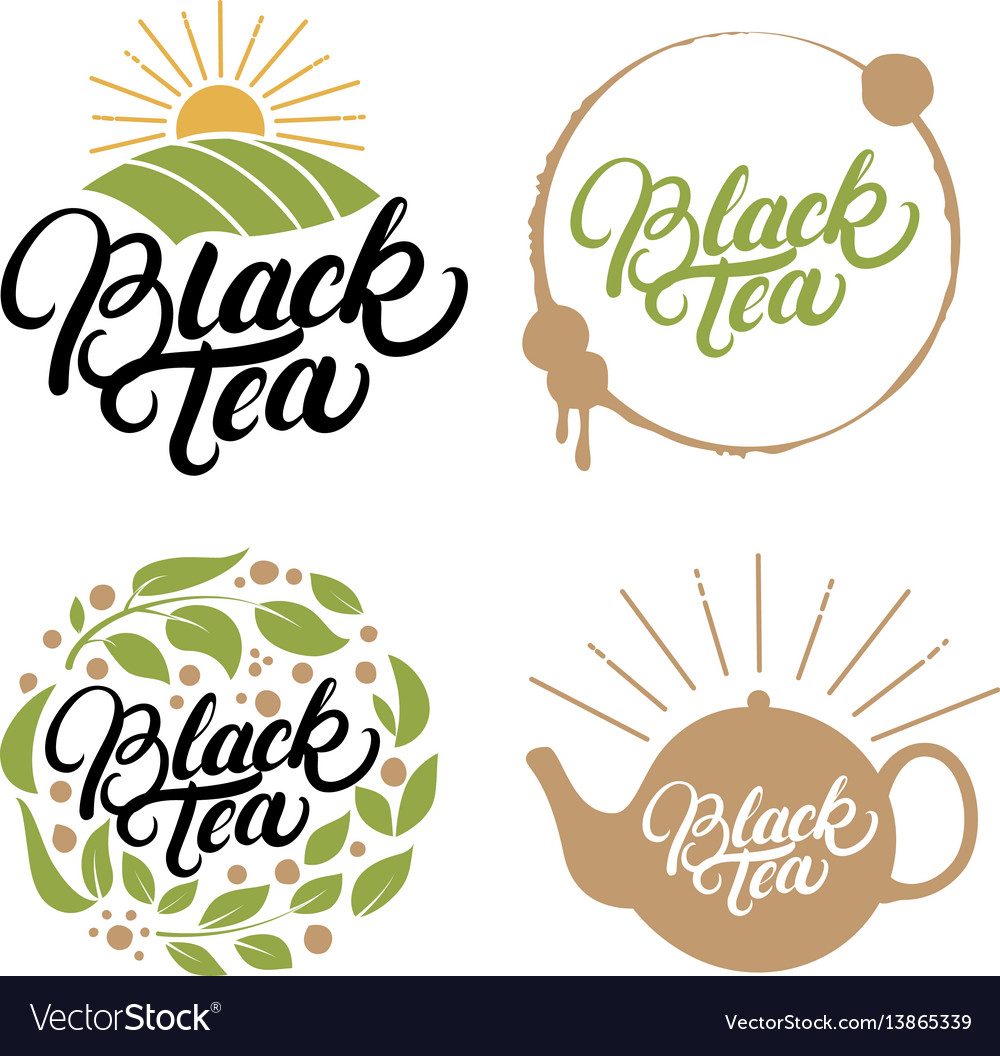 Set of black tea hand written lettering logos