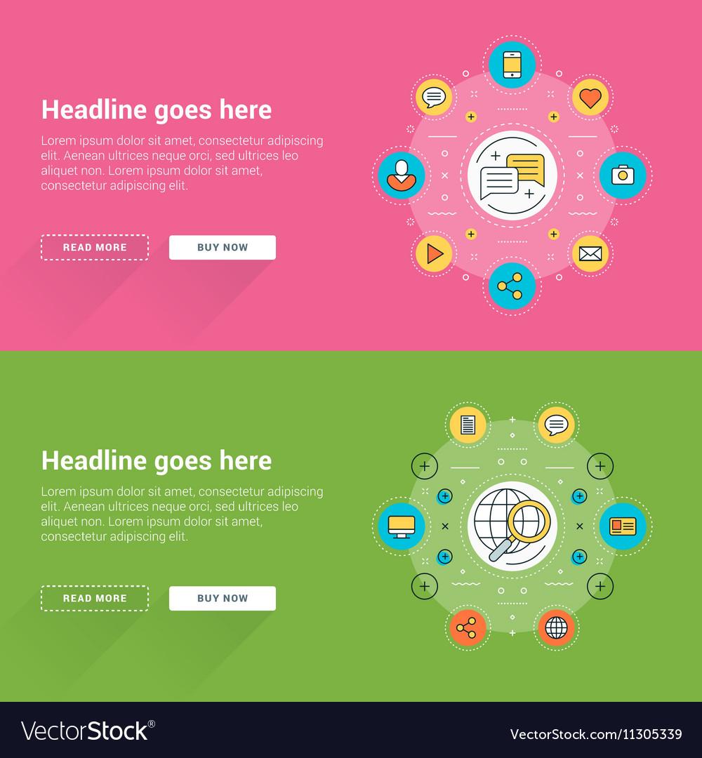 Set of flat line business website banner templates