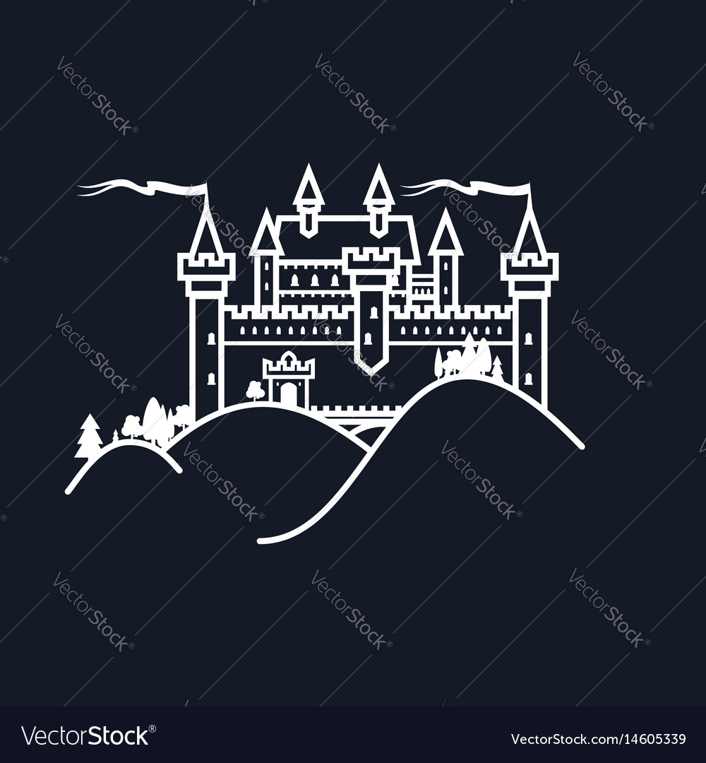 White castle hill on black background vector image