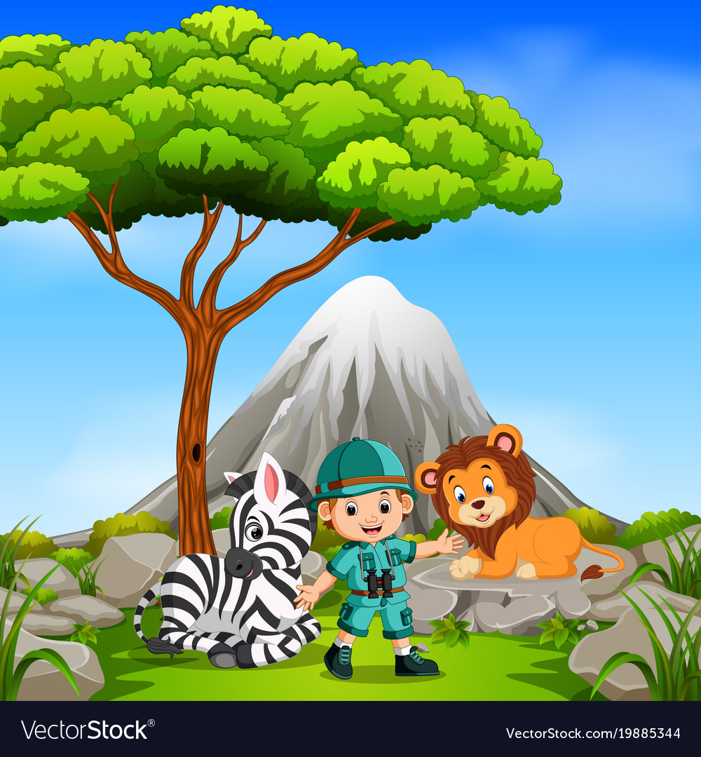 Adventurer and wild animal posing with mountain